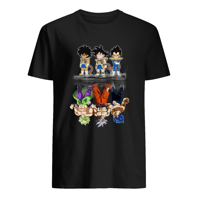 Saiyan kids Broly Songoku Vegeta mature water reflection men's shirt
