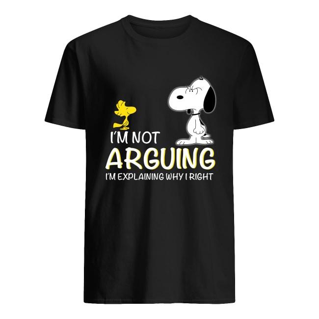 Snoopy and Woodstock i'm not arguing i'm explaining why i'm right men's shirt
