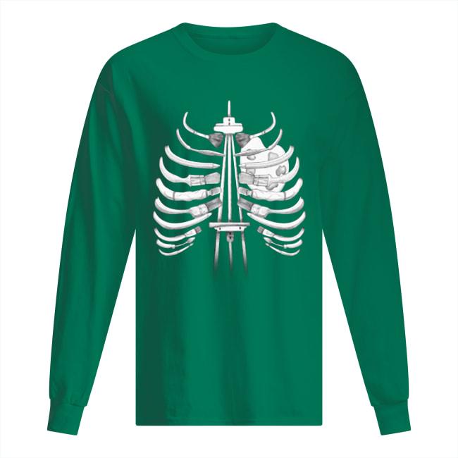 Brush painting skeleton ribs long sleeved