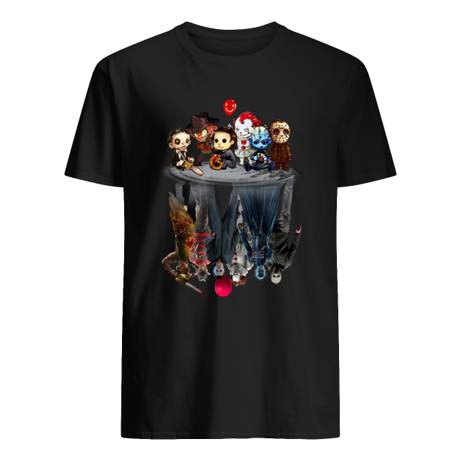Horror movie characters water reflection men's shirt
