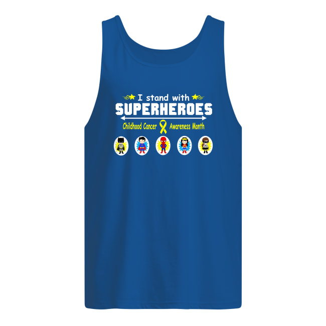 I stand with superheroes childhood cancer awareness month tank top