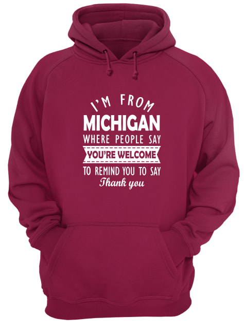 I'm from Michigan where people say you're welcome hoodie