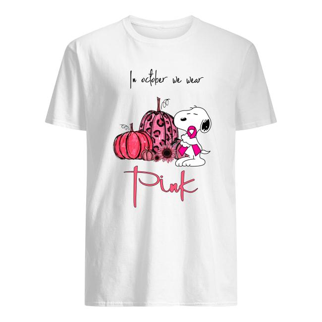 In october we wear pink Snoopy pumpkin breast cancer awareness men's shirt