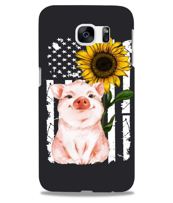 Pig and sunflowers American flag phoncace