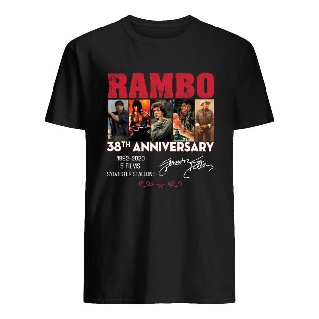 Rambo 38th anniversary 1982 2020 5 films Sylvester Stallone signature men's shirt