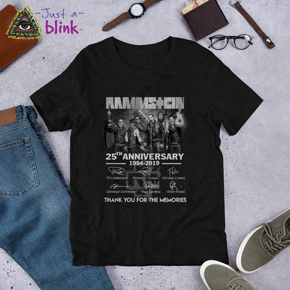 Newseller Rammstein 25th anniversary 1994 2019 thank you for the memories signatures shirt