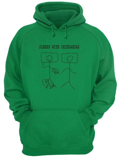 Stick figure sleeps with chihuahuas hoodie