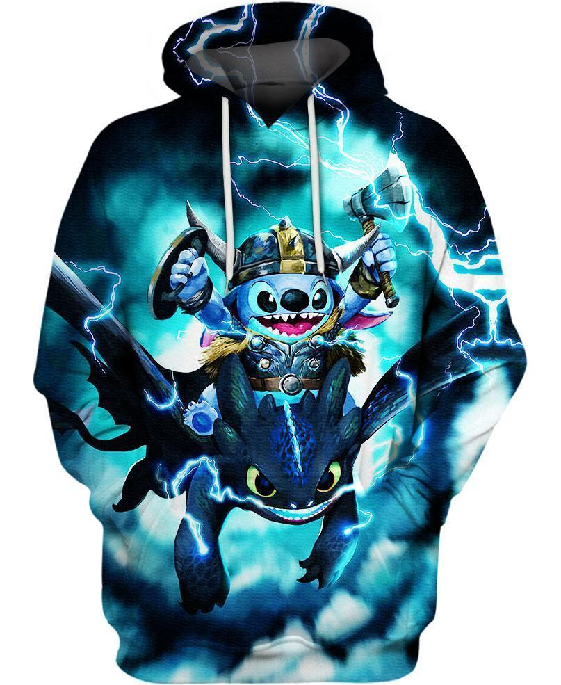 Stitch and Toothless 3D hoodie