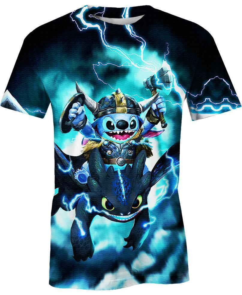 Stitch and Toothless 3D t-shirt
