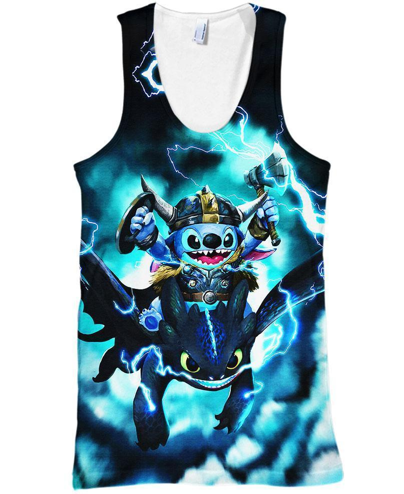 Stitch and Toothless 3D tank top