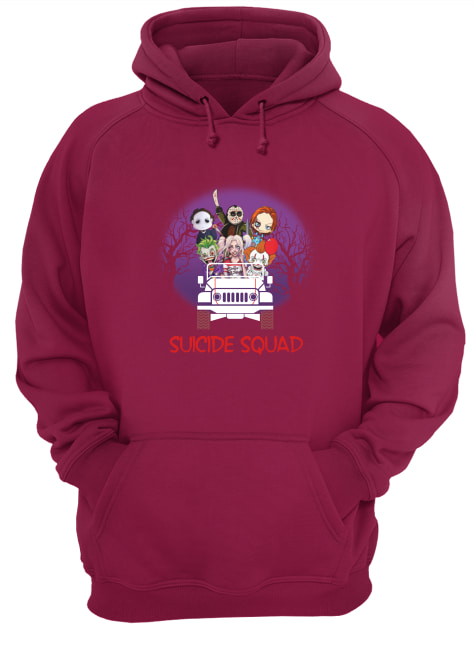 Suicide Squad horror movie characters driving jeep hoodie