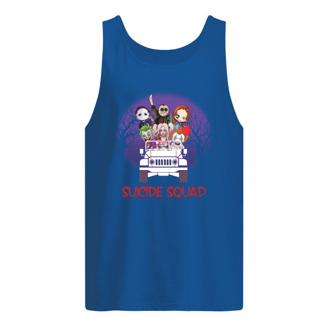 Suicide Squad horror movie characters driving jeep tank top