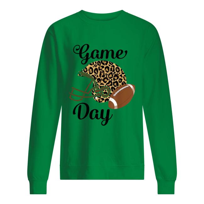 Super Bowl game day league football player leopard helmet sweatshirt