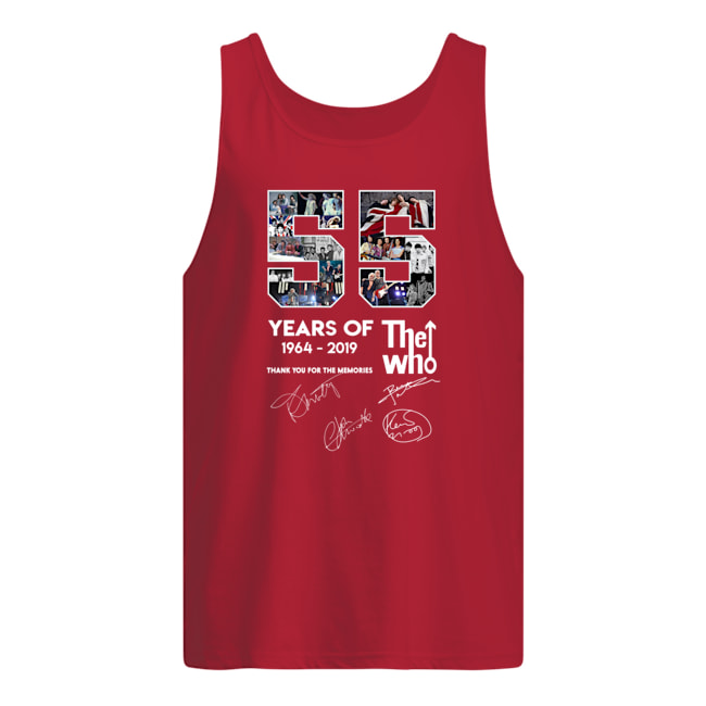 55 years of the who 1964 2019 signature thank you for the memories tank top