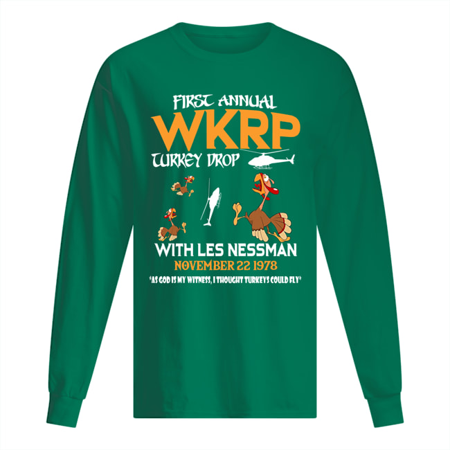 First annual wkrp turkey drop with les nessman november 22 1978 long sleeved