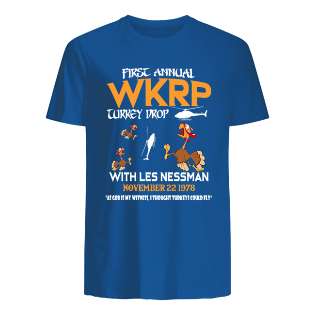 First annual wkrp turkey drop with les nessman november 22 1978 mens shirt