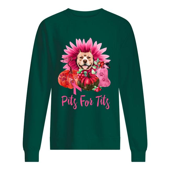 Pits for tits pink pitbull pumpkin flower sweatshirt