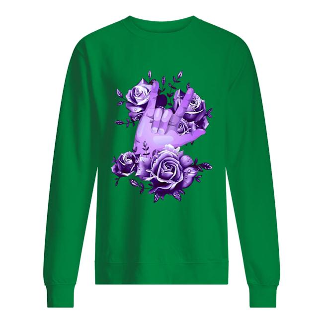 Purple floral rock and roll sweatshirt