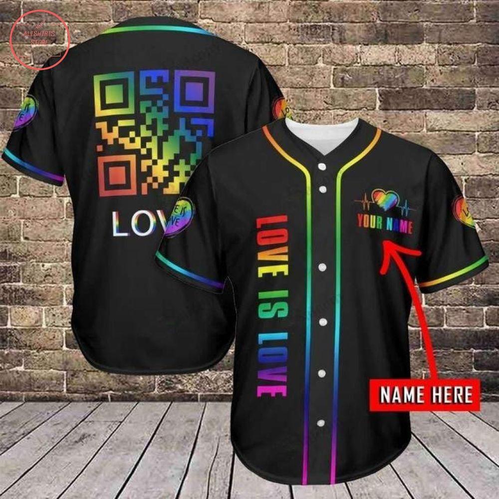 Custom LGBT QR Love Is Love Baseball Jersey