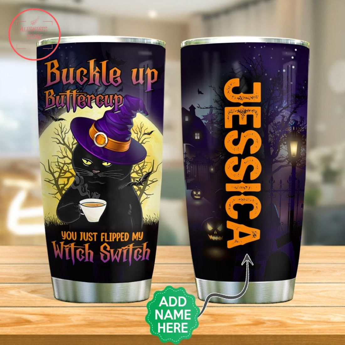 Personalized Black Cat Drinks Coffee Halloween Tumbler