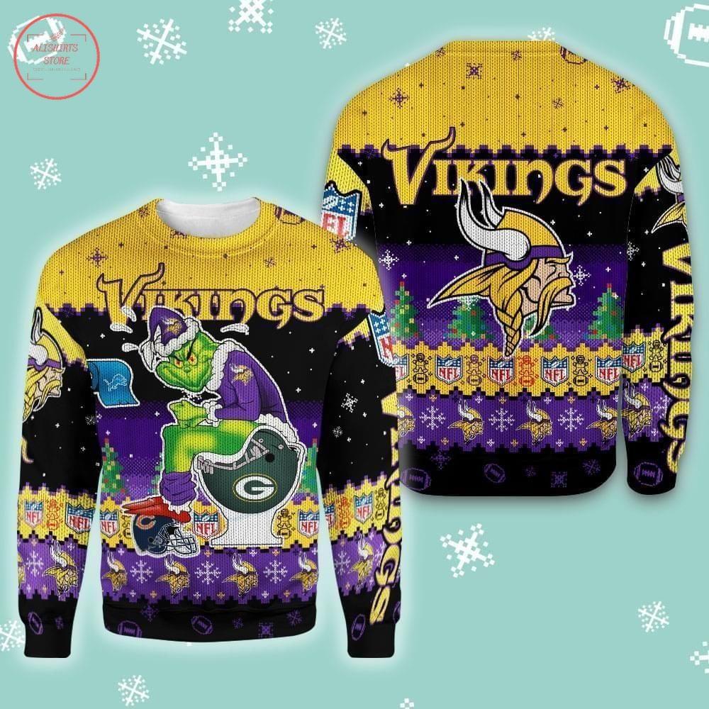 NFL Vikings Minnesota Ugly Christmas Grinch Sweater