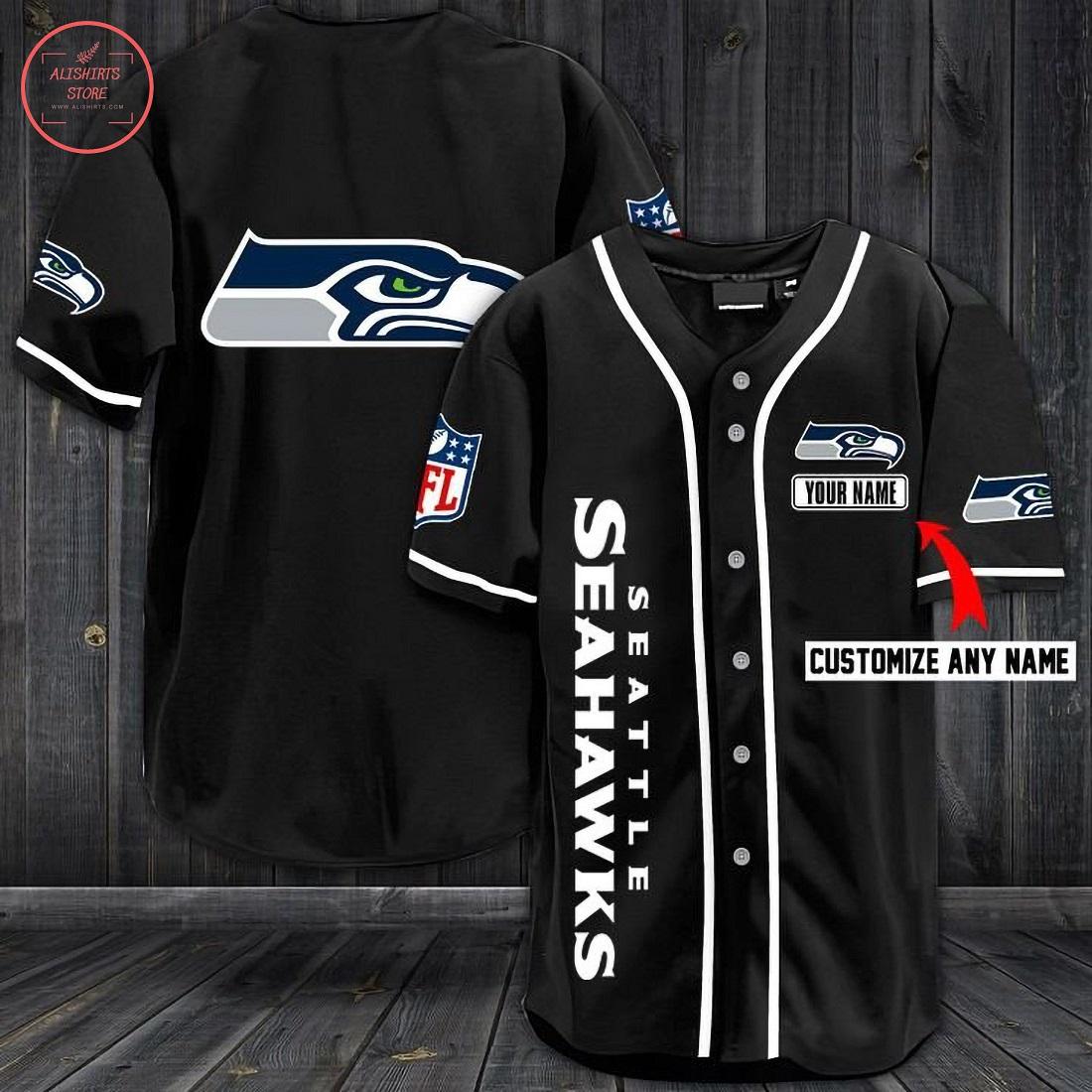 Seattle Seahawks Personalized Baseball Jersey